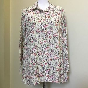 FREE PEOPLE pink floral oversized Swing top 4 S